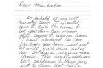 Hand written letter from a SPC Edmond Crystal